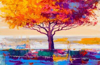 Cuadro Pintura al óleo del árbol, fondo artístico