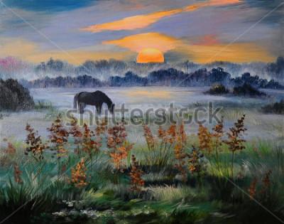 Cuadro Pintura al óleo del campo al atardecer.