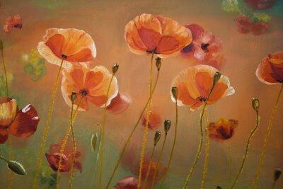 Cuadro Pintura al óleo flores de amapola roja. Primavera floral de fondo de la naturaleza