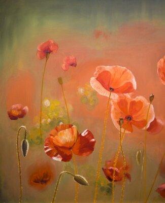 Cuadro Pintura al óleo flores rojas de la amapola. Primavera floral de fondo de la naturaleza