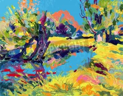 Cuadro pintura al óleo ilustración vectorial. Yo, el artista, es propietaria del copyright