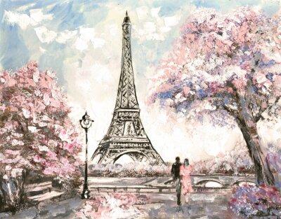 Cuadro Pintura al óleo, opinión de la calle de París. Paisaje blando, primavera