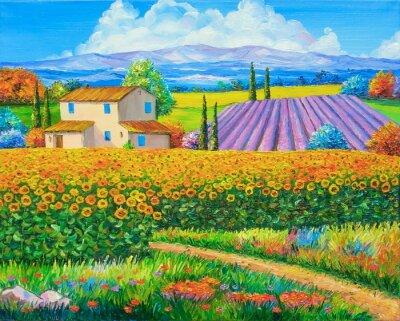 Cuadro Pintura al óleo original Campos del girasol y de la lavanda