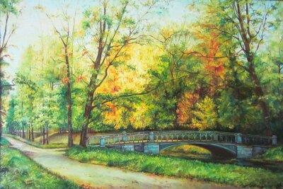 Cuadro Pintura al óleo original El puente en el bosque