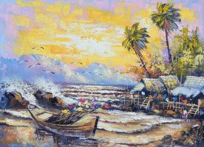 Cuadro Pintura al óleo original en la lona - Antiguo barco de pesca en el puerto