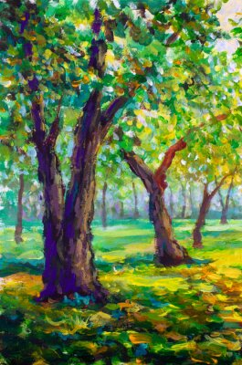 Cuadro Pintura al óleo original, estilo contemporáneo. Grandes árboles grandes robles en el bosque del parque - soleado paisaje de primavera verde