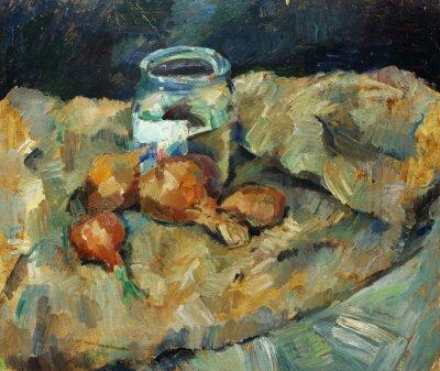 Cuadro Pintura al óleo original hermosa de la vida inmóvil. Bulbo del punto en telas En lona en colores amarillos y azules en el estilo del impresionismo