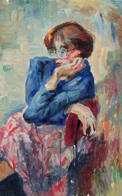 Cuadro Pintura al óleo original hermosa del retrato de colores brillantes de una mujer en lona en el estilo del impresionismo