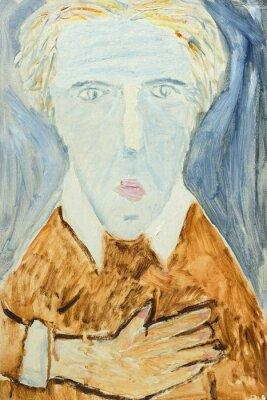 Cuadro Pintura al óleo original hermosa del retrato de un hombre en colores anaranjados y grises En lona