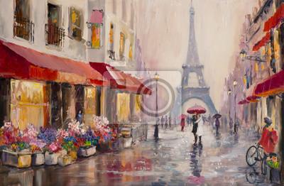 Cuadro Pintura al óleo original sobre lienzo - París - Torre Eiffel - Un par de amantes bajo un paraguas - Arte Moderno
