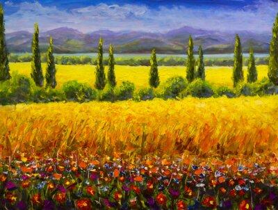 Cuadro Pintura al óleo paisaje de Toscana de verano italiano, arbustos de cipreses verdes, campo amarillo, flores rojas, montañas y imagen de obras de arte de cielo azul sobre lienzo