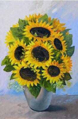 Cuadro Pintura al óleo - ramo de girasoles en un jarrón sobre un fondo abstracto, flores hermosas