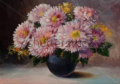 Cuadro Pintura al óleo sobre lienzo - Bodegón flores sobre la mesa.