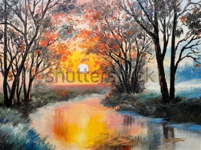 Cuadro pintura al óleo sobre lienzo - el río