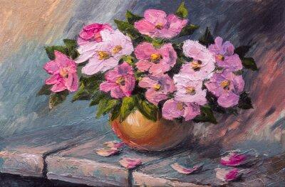 Cuadro Pintura al óleo sobre lienzo - flores de la naturaleza muerta sobre la mesa