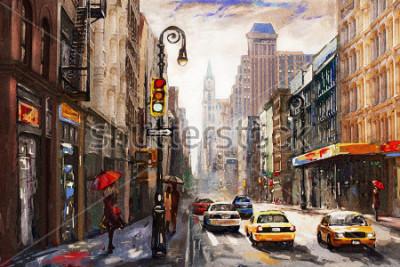 Cuadro pintura al óleo sobre lienzo, vue de la calle de Nueva york, debut de paraguas rojo, taxi amarillo, arte moderno, ciudad estadounidense, ilustración nueva york