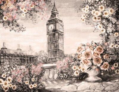 Cuadro Pintura al óleo, verano en Londres. Suave paisaje de la ciudad. Flor rosa y hoja. Vista desde el balcón. Big Ben, Inglaterra, fondo de pantalla. Acuarela arte moderno. Sepia