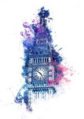 Cuadro Pintura colorida de la acuarela de Big Ben