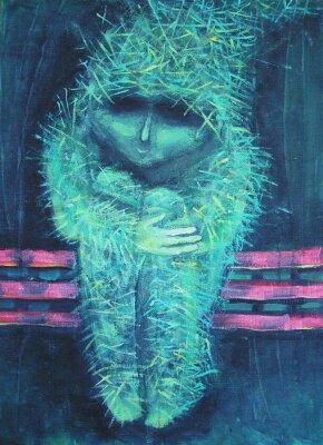 Cuadro Pintura de acrílico abstracta. Soledad hombrecillo lo contrario verde. Decoración de interiores.