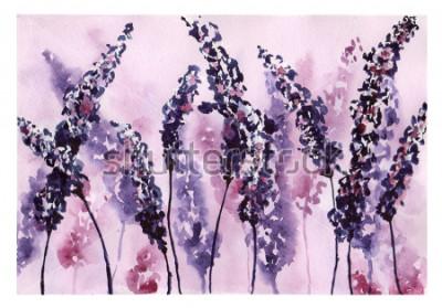Cuadro Pintura de acuarela - flores de lavanda para fondos de diseño, tarjetas, paquetes, telas