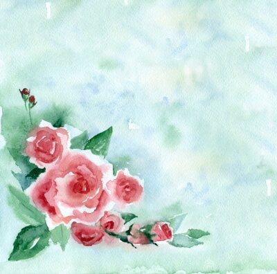 Cuadro Pintura de acuarela. Ramo de la vendimia de rosas rojas en un fondo borroso verde.