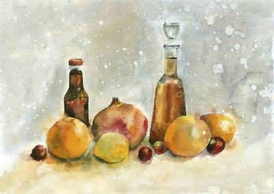 Cuadro Pintura de acuarela. Todavía vida con las naranjas, la granada y las botellas en fondo de la vendimia.
