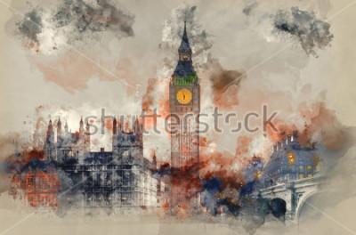 Cuadro Pintura de la acuarela de Big Ben y casas del Parlamento durante la puesta de sol de invierno.