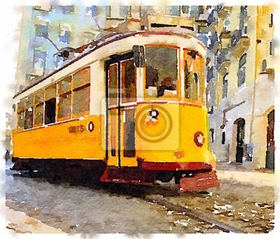 Cuadro Pintura de la acuarela de Digitaces de una tranvía amarilla tradicional del vintage en Lisboa, Portugal, montando a través de las calles pintorescas. Transporte a través de Lisboa.