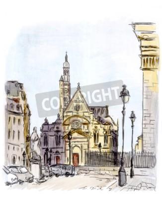 Cuadro Pintura de la calle de la ciudad europea, París, acuarela