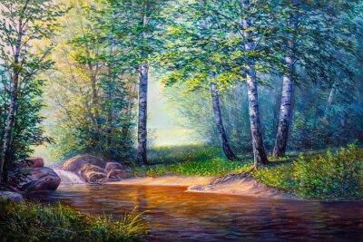 Cuadro pintura de paisaje de cascada