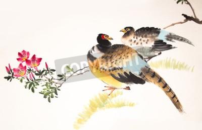 Cuadro Pintura de tinta china de aves y plantas