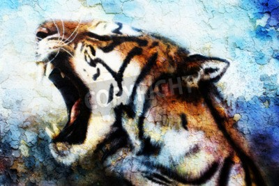 Cuadro pintura del tigre de Sumatra del rugido