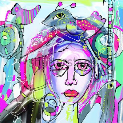 Cuadro Pintura digital abstracta original de rostro humano, colorida composición en arte moderno contemporáneo, perfecta para diseño de interiores, decoración de páginas, web y otros, ilustración vectorial