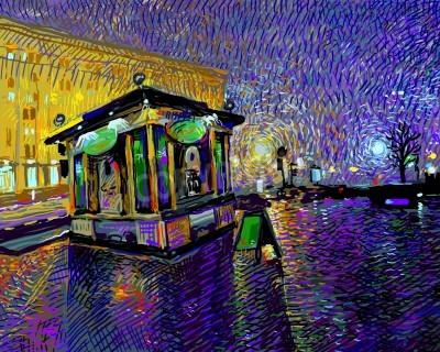 Cuadro pintura digital del arte de la noche la ciudad de Kiev, ilustración vectorial