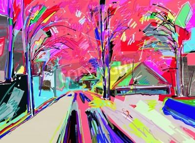 Cuadro Pintura digital del paisaje de invierno