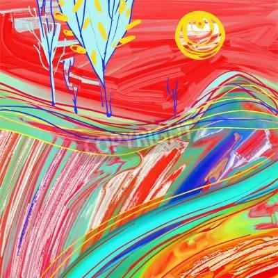 Cuadro Pintura digital del paisaje rojo de la puesta del sol, inspiración creativa de las ilustraciones, impresionismo moderno, ilustración del vector