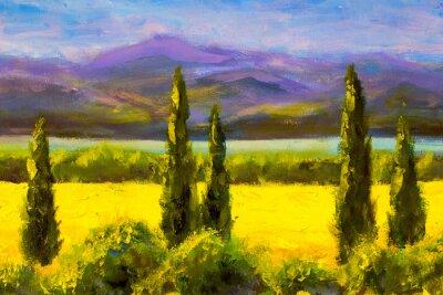 Cuadro Pintura italiana toscana cipreses paisaje campo montañas arbustos horizontalmente arte