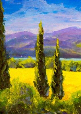 Cuadro Pintura italiana toscana cipreses paisaje campo montañas arbustos verticalmente