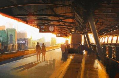 Cuadro pintura mostrando pareja esperando un tren en la estación