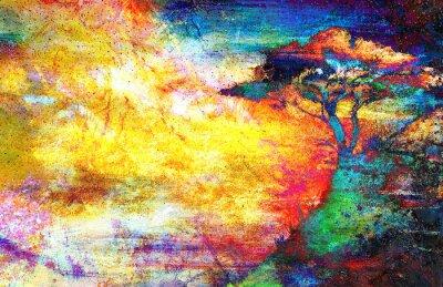 Cuadro Pintura puesta de sol, el mar y el árbol, paisaje de papel tapiz, collage de color