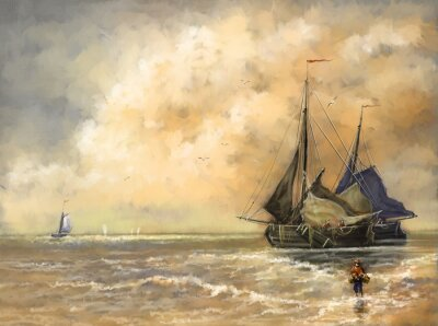 Cuadro Pinturas al óleo paisaje, mar, barcos, barco