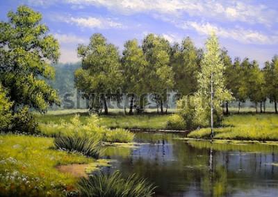 Cuadro Pinturas al óleo paisaje, río y árboles, estanque, arte.