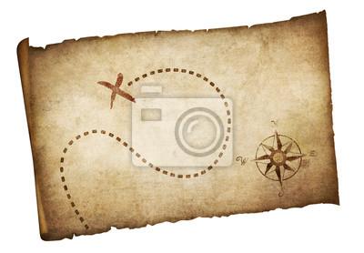 Cuadro Piratas viejo mapa del tesoro aislado
