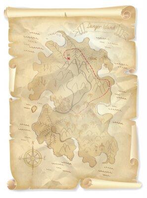 Cuadro Piratas viejos mapa de la isla del tesoro con la ubicación marcada, ilustración vectorial