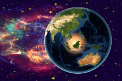Cuadro Planet Earth on the background with stars and galaxies, the Earth from space showing Indonesia, Australia, India and Malaysia on globe in the night time, elements of this image furnished by NASA