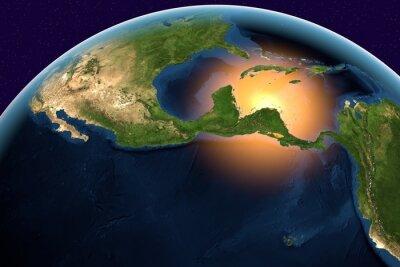 Cuadro Planeta Tierra, la Tierra desde el espacio que muestra América Central, Belice, Costa Rica, El Salvador, Guatemala, Honduras, Nicaragua, Panamá, el mundo en el tiempo del día, los elementos de esta im