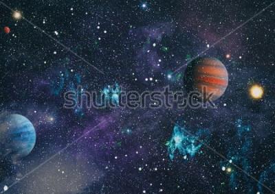 Cuadro Planetas, estrellas y galaxias en el espacio exterior que muestra la belleza de la exploración espacial. Elementos provistos por la NASA.