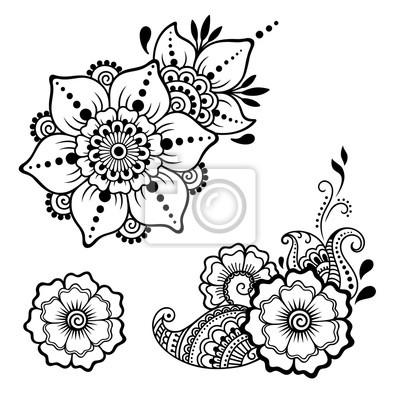 Plantilla De Flor De Tatuaje De Henna Estilo Mehndi Conjunto