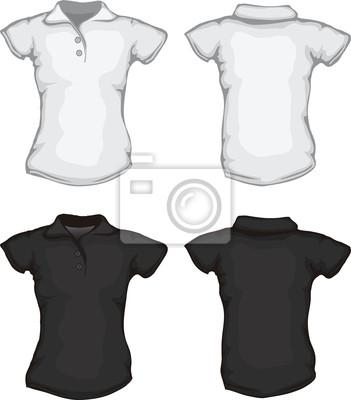 Cuadro plantilla de la camisa de polo de las mujeres blancas negras 161c62b488bbe
