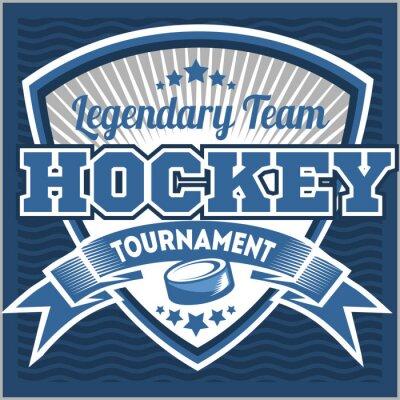 Cuadro Plantilla de logotipo del equipo de hockey. Emblema, plantilla del logotipo, diseño de la ropa de la camiseta. Insignia deportiva para torneo o campeonato